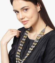 Buy Silver and Gold Dholki Beads 3 line two tone elaichi mala necklace Necklace online