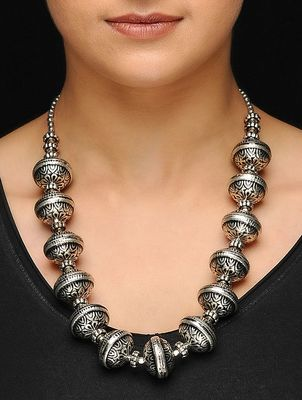 Silver oxidized big beads necklace