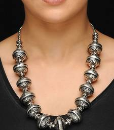 Buy Silver oxidized big beads necklace oxidised-jewellery online