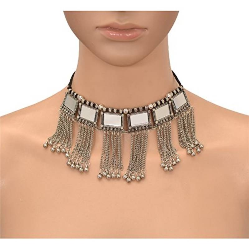 German Silver Mirror And Tassels Choker Necklace
