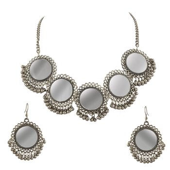 Silver mirror and ghungroo necklace set