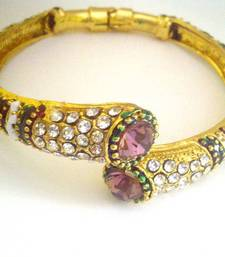 Stylish Meenakari Kada with Big Purple Stones by ADIVA ABJAY0AE0010 shop online