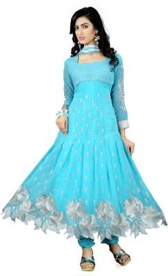 Sky-blue embroidered georgette Anarkali Suit