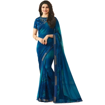 Blue plain georgette saree with blouse
