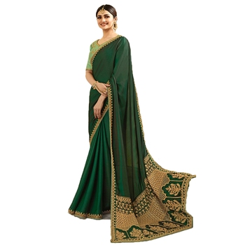 Sea green embroidered  saree with blouse