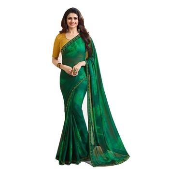 Green plain  saree with blouse