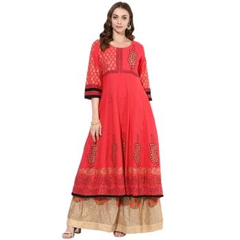 Red cotton block prints long anarkali kurti