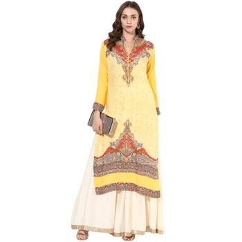 Yellow rayon digital prints long straight kurti