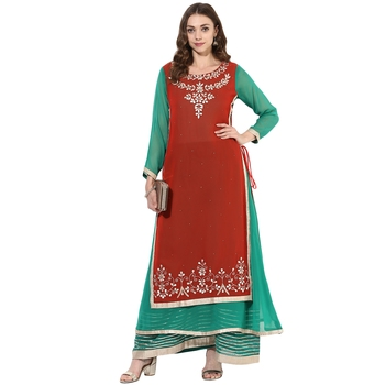 Red and green georgette gota work dual layer long anarkali kurti