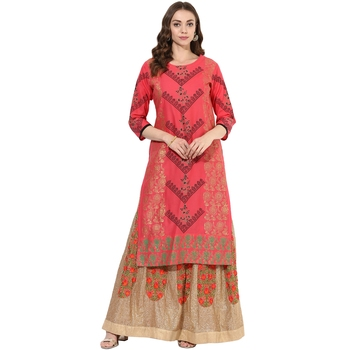 Red cotton block prints long straight kurti
