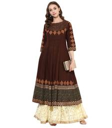 Brown cotton block prints long anarkali kurti