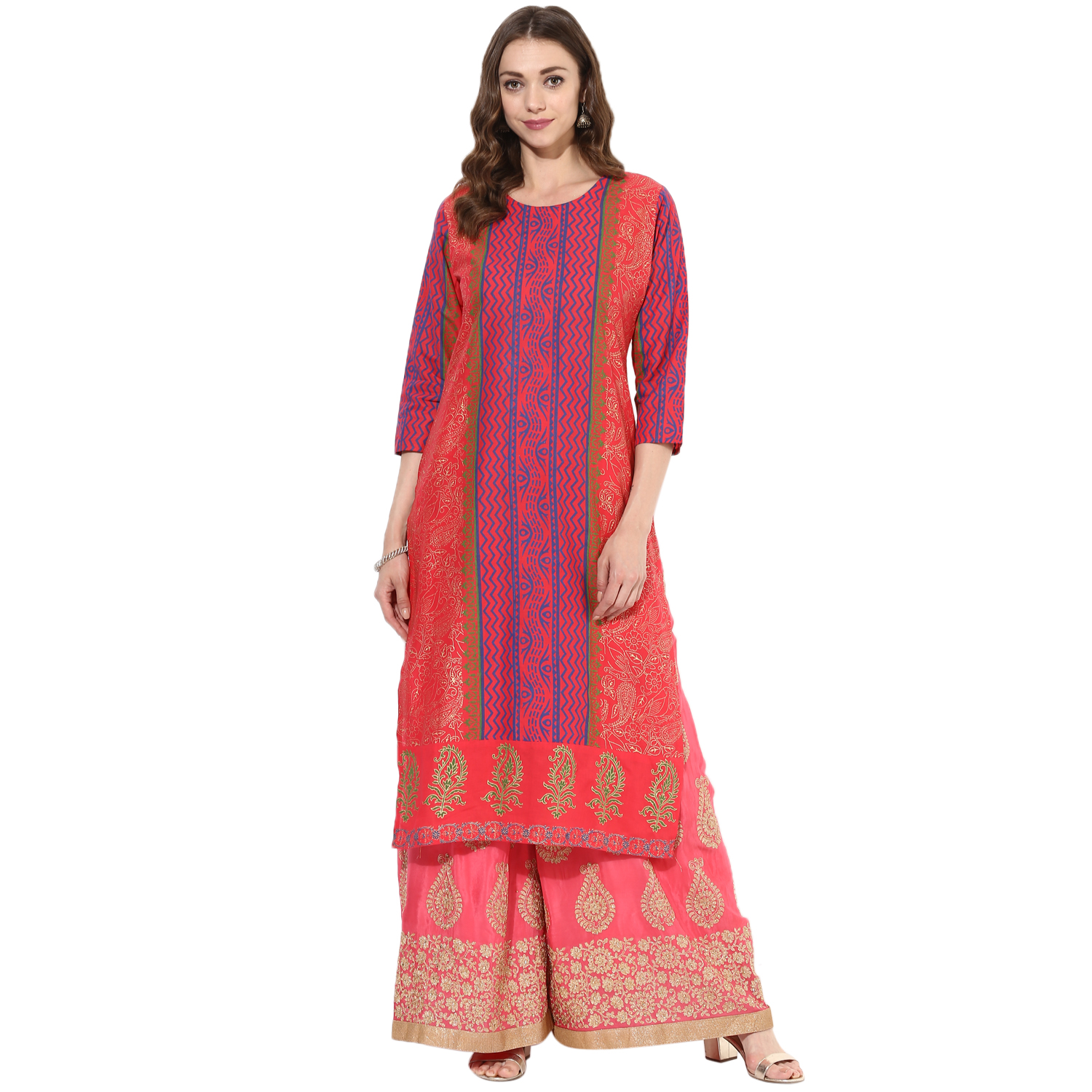 df8ae2cc6 Multicolored cotton block prints long straight kurti - ZOEYAMS - 2639536