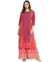 Multicolored cotton block prints long straight kurti