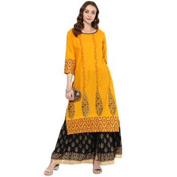 Yellow cotton block prints long straight kurti