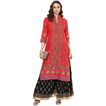 358ec1cfb Red cotton block prints long straight kurti - ZOEYAMS - 2639538