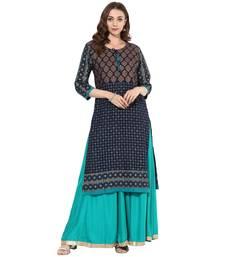Blue cotton block prints long straight kurti