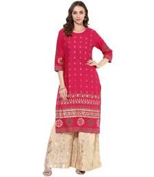 Pink cotton block prints long straight kurti