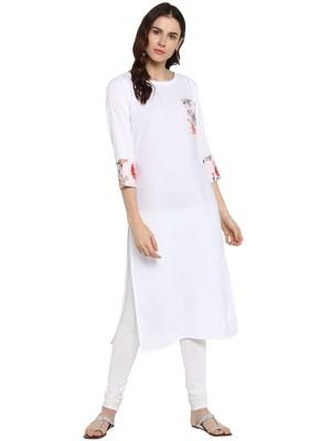 White printed crepe kurta