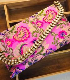 Buy Purple brocade embroidered clutches clutch online