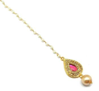 Pear Shape Small Size Maang Tikka Decorated With Crystal