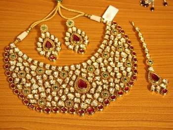 Kundan Meenakari Multicolour Royal Rajwada Polki Necklace Set