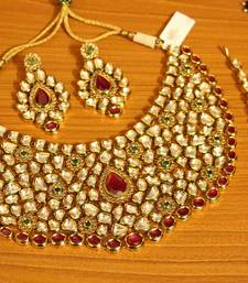 Buy Kundan Meenakari Multicolour Royal Rajwada Polki Necklace Set bridal-set online