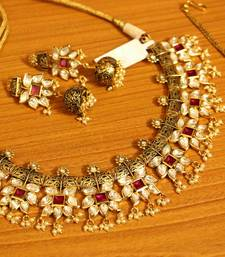 Buy Kundan Meenakari Antique Gold plated Ruby Necklac Set necklace-set online