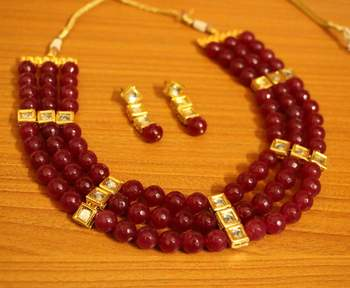 Ruby Kundan Meenakari 3 Layer Necklace Set