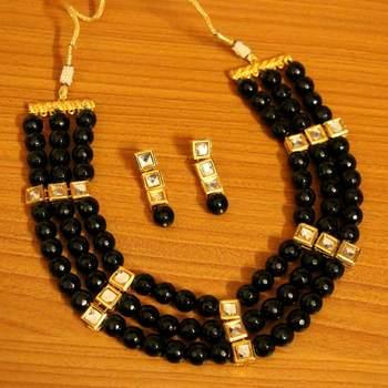 Black Onyx Kundan Meenakari Necklace Set