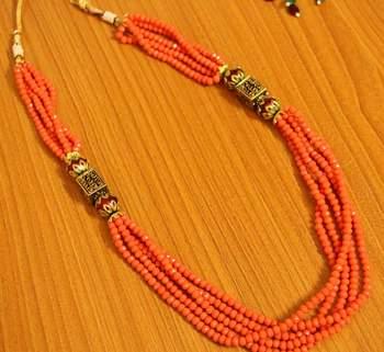 Orange Peach Antique Look Necklace