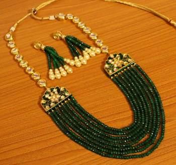 Kundan Meenakari Emerald Multi String Necklace