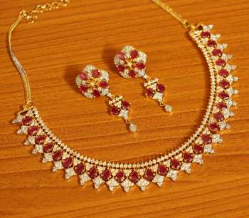 Ruby Diamond Look Gold Plated Necklace Set