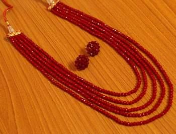 5 Line Ruby Colour Multi Sting Necklace Set