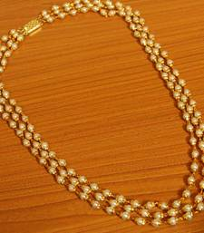 3 Line Gold Plated Pearl Necklace Set
