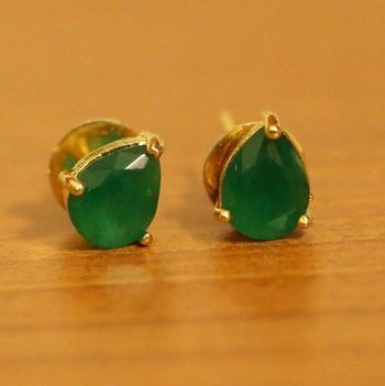 Single Stone Pear Shaped Emerald Earrings
