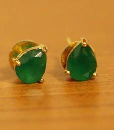 Single Stone Pear Shaped Emerald Earrings