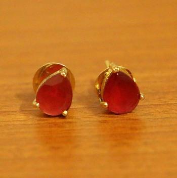 Single Stone Pear Shaped Ruby Earrings