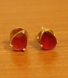 Single Stone Pear Shaped Ruby Earrings