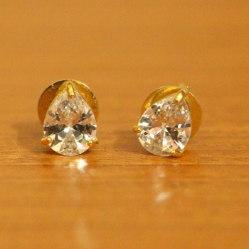 Solitaire Look Pear Shaped Single Stone Earrings