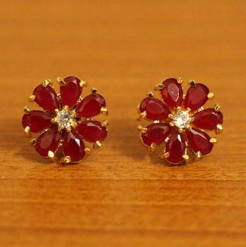 Ruby Flower Pattern Gold Plated Earrings