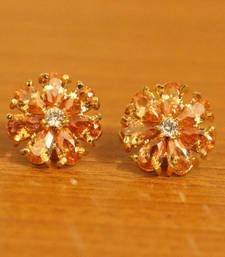 Champagne Colour Flower Pattern Gold Plated Earrings