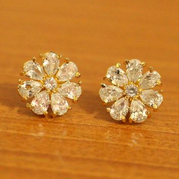 Zircon Studded Flower Pattern Gold Plated Earrings