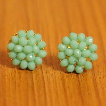 Turquoise Crystal Beaded Earrings