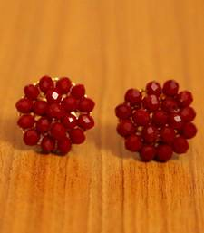 Red Crystal Beaded Earrings