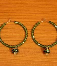 Green Crystal Beaded Hoop Earrings