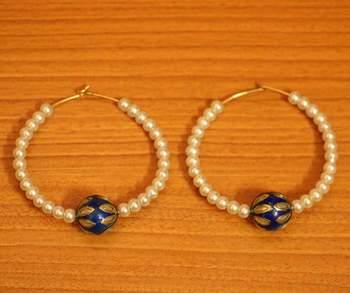 Blue Meenakari  And  Pearl Beaded Earrings