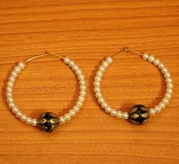Black Meenakari  And  Pearl Beaded Earrings