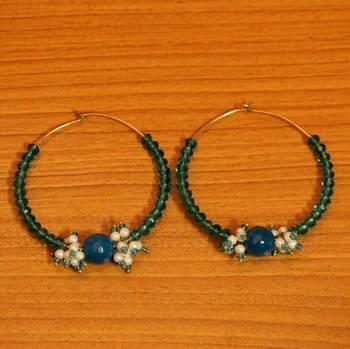 Blue Crystal Embedded Hoops