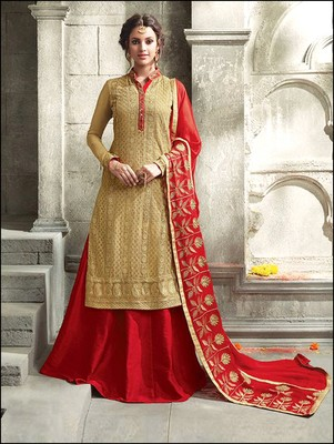 Golden embroidered georgette semi stitched salwar with dupatta