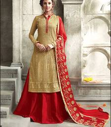 Buy Golden embroidered georgette semi stitched salwar with dupatta semi-stitched-salwar-suit online